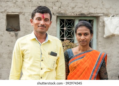 Young married couple closeup in rural village Salunkwadi, Ambajogai, Beed, Maharashtra, India, Southeast Asia