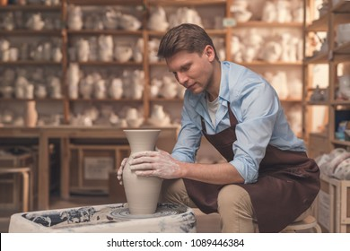 Young master in uniform in pottery