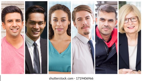 Young and mature Caucasian and mix raced business people portrait set. Smiling men and women of different races and ages wearing formal suits multiple shot collage. Positive human emotions concept