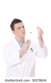 Young Medical doctor with siringe. Isolated over white background