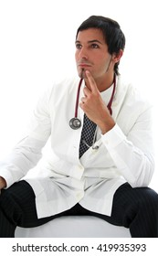 Young medical doctor thinking