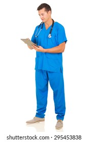 young medical worker using tablet computer isolated on white background