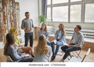 young members of anonymous alcoholics club share their experience, get support and psychological help, have conversation. help, support, alcoholics and drug users club, addiction. therapy
