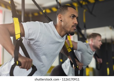 Young men performing TRX training in gym. Muscular guys doing exercise with elastic rope, copy space, closeup