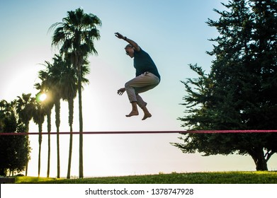 Young men walk across a slack line tied between trees on a sunny day