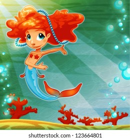 Young mermaid with background. Funny cartoon and raster mythological illustration.