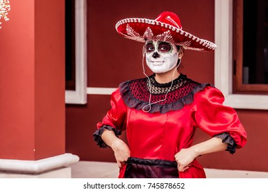 A young Mexican woman at celebration of Day of the Dead (Dia de Muertos) in Mexico, Cancun