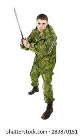 young military man with machete, isolated on white
