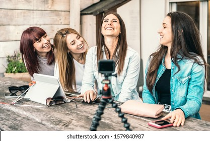 Young millennial women having fun on streaming platform through digital action web cam - Influencer marketing concept with millenial girls sharing content vlogging live feeds on social media networks