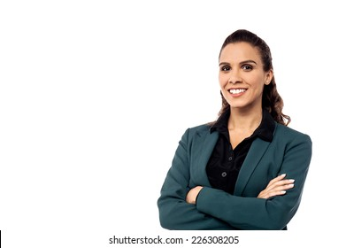 Young mixed race businesswoman with crossed arms