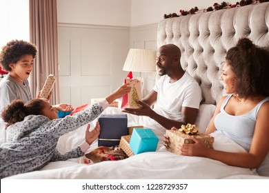 Young mixed race family sitting on parentsÕ bed giving each other gifts on Christmas morning, close up