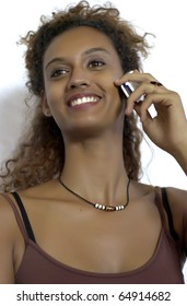 Young mixed woman on phone