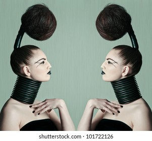 a young model with a creative avantgarde hairstyle
