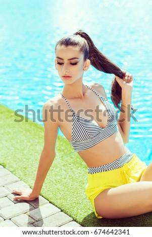 The nobility? Young model in bikini draw?