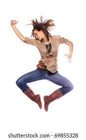 Young model jumping and posing