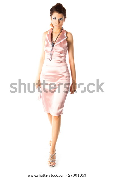 young model on white background