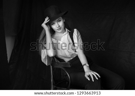 Young model posing in