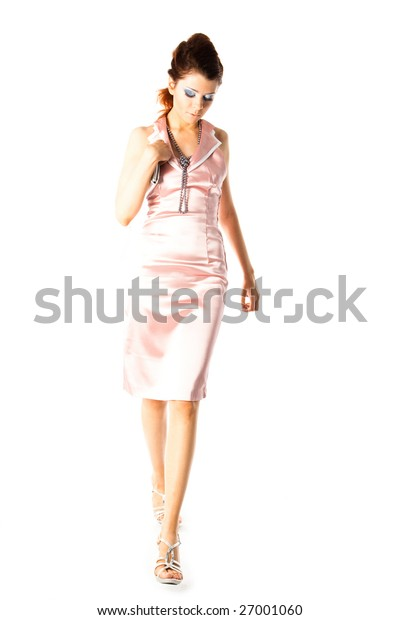 young model with small bag on white background