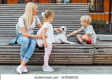 Young mom with children and dog sitting on a bench. Mothers day.