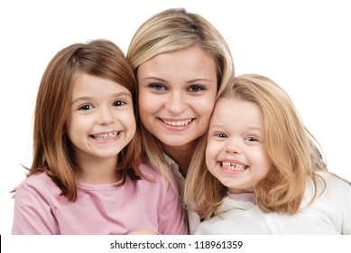 young mom with daughters