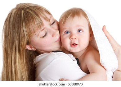 Young mom with her lovely baby son