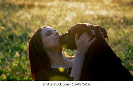 the young moroccan girl is kissing her black pitbull on a sunset evening