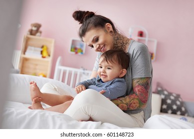 Young mother with adorable son