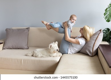 Young mother and child in her hands happy with white westie west highland white terrier dog on a white sofa with grey wallss miling and playng