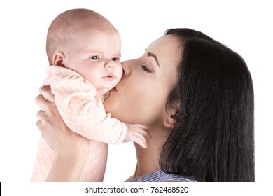 Young mother and cute baby on white background