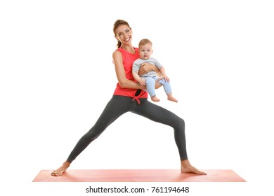 Young mother doing yoga with baby, isolated on white