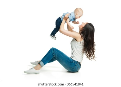 young mother with her son over white background
