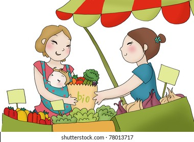 A young mother with his child at the vegetables market. Digital