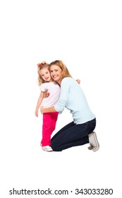 young mother hugging her little daughter isolated on white