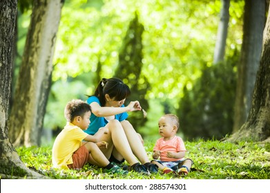 Young mother with kids