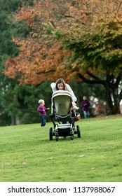 Young mother leaning over a pushchair or stroller speaking to her baby on the green grass in an autumn park followed by her young son looking back to wait for his brother.
