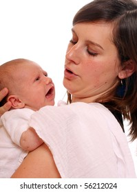 Young mother with newborn daughter.