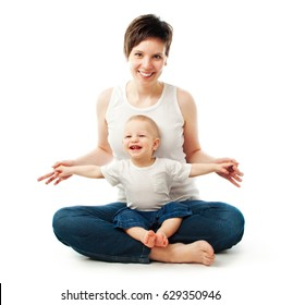 Young mother sitting with her child on white background