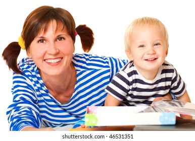 young mother and son,  on a white background