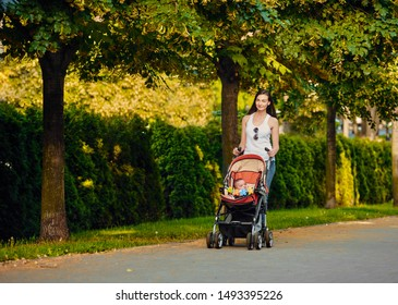 Young mother walking with her baby in pram in park