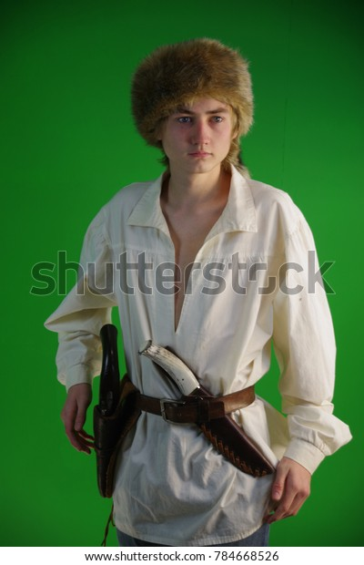 Young Mountain Man Knife Pistol Stock Photo (Edit Now) 784668526