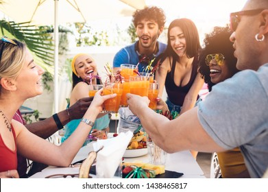 Young multiracial friends toasting beer at barbecue garden party - Young cheerful people cheering with cocktails on summer time