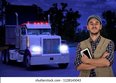 Young multitasking man truck driver traveling in the night