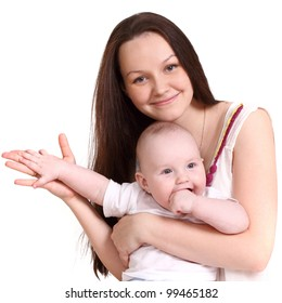 Young mum and the small son, portrait on a white background close up, the kid sits at mum in a lap, having put the hand on mum's, a format square