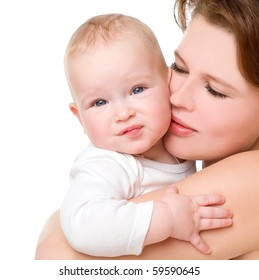 Young mummy and her kid on a white background