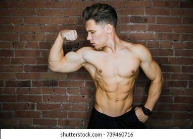 Young muscular bodybuilder fitness model posing against a brick wall loft fitness club. Beauty Ring flash, Fashion potrait. Six pack abs.