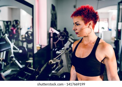 Young muscular strong woman holding dumbbells at the gym bodybuilding weight lifting fitness training