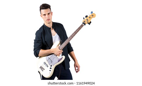 Young musician with guitar, isolated on white