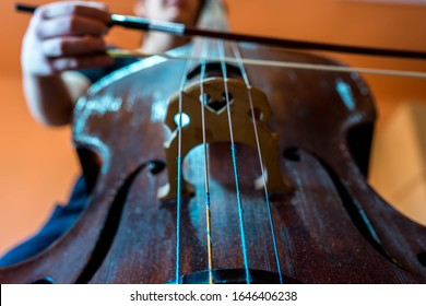 Young musician playing on the double bass, focus on the strings, shallow depth of field.