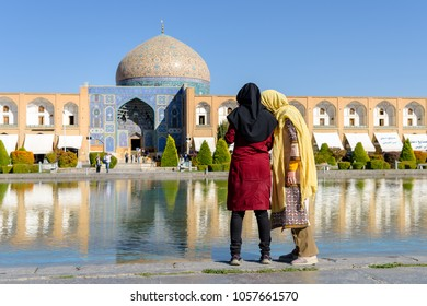 Young muslim girls at market square in Esfahan, Iran. Biggest bazar of middle east in Isfahan, Iran.