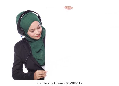 young muslim woman helpline operator with white billboard